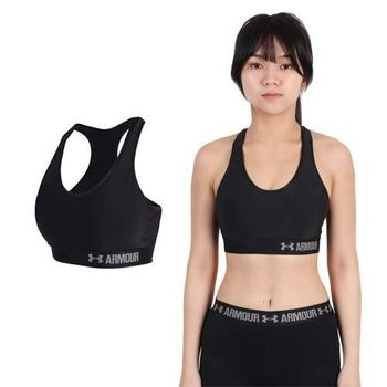 【UNDER ARMOUR】UA HG ARMOUR女中衝擊運動內衣-運動背心 黑