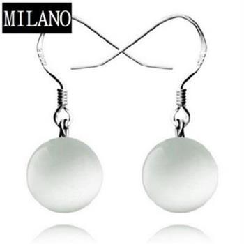 【米蘭精品】925純銀耳環耳針式貓眼石耳飾小圓珠氣質
