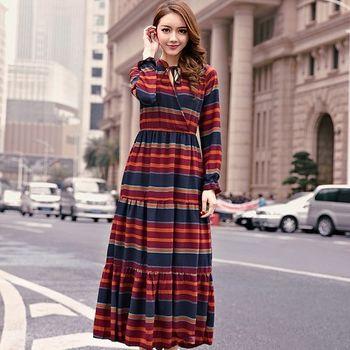 【KVOLL中大尺碼】波西米亞配色橫條紋連身裙