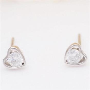 【米蘭精品】925純銀耳環耳針式鑲鑽耳飾迷你愛心