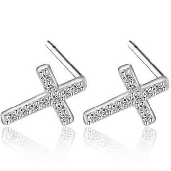 【米蘭精品】925純銀耳環耳針式鑲鑽耳飾十字架