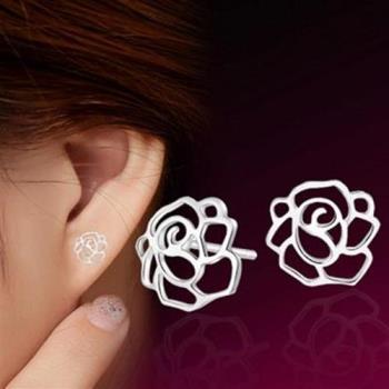 【米蘭精品】925純銀耳環耳針式耳飾優雅玫瑰花