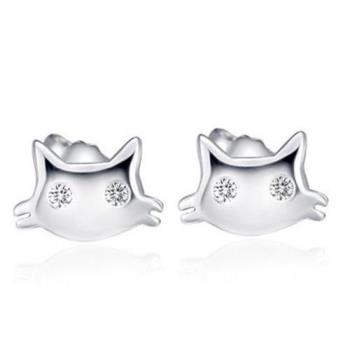 【米蘭精品】925純銀耳環耳針式鑲鑽耳飾可愛貓咪