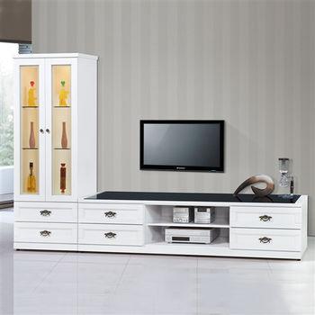 【時尚屋】[UZ6]千億白色9尺L型電視櫃UZ6-216-1