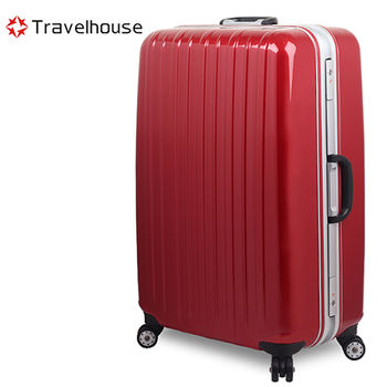 【Travelhouse】COLORS 視覺享宴 20吋PC鋁框硬殼行李箱(紅)