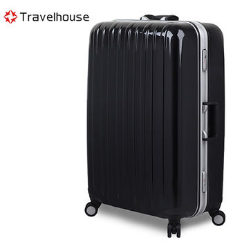 【Travelhouse】COLORS 視覺享宴 20吋PC鋁框硬殼行李箱(黑)