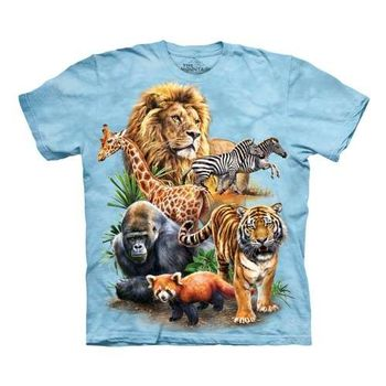 【摩達客】(預購)美國進口The Mountain  動物園拼貼 純棉環保短袖T恤