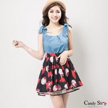 Candy小舖 綁結肩帶牛仔拚色女孩圖案雪紡傘狀短洋裝-(黑色)
