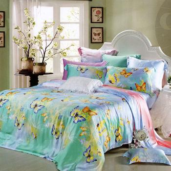 【KOSNEY】蝴蝶紛飛  加大100%天絲TENCEL四件式兩用被床包組