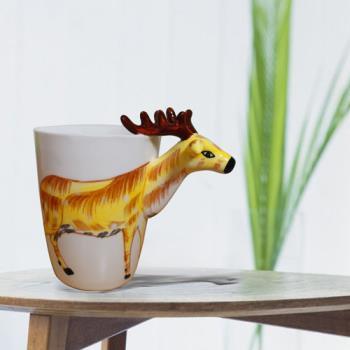 3D動物造型手繪風陶瓷杯- 梅花鹿(350ml)