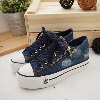 《DOOK》街頭個性牛仔厚底帆布鞋-深藍