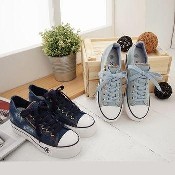 《DOOK》街頭個性牛仔厚底帆布鞋-2色
