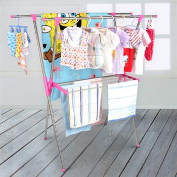 【LIFECODE】小太陽可伸縮X型曬衣架附毛巾架(桃紅色)_送曬鞋架