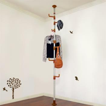 【LIFECODE】春樹頂天立地多用途衣帽架/包包架 -咖啡色