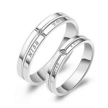 【米蘭精品】925純銀戒指鑲鑽情侶對戒大方精緻(單件)