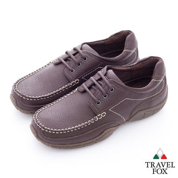 Travel Fox(男) 我的工作鞋 牛皮綁帶休閒鞋 - 耐力咖