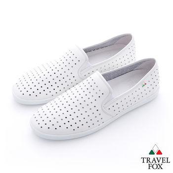 Travel Fox(男) 方格洞洞 極簡風牛皮直套懶人鞋 - 格白