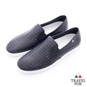 Travel Fox(男) 方格洞洞 極簡風牛皮直套懶人鞋 - 格黑