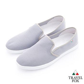 Travel Fox(男)輕快的 網紋透氣直套懶人鞋 - 輕灰