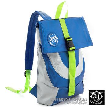 【AJ.亞介】 微編織皮革雙色配 後背包 藍色(UE7852)