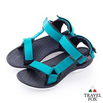 Travel Fox(男) 愛玩水 亮彩織帶側工字涼鞋 - 綠