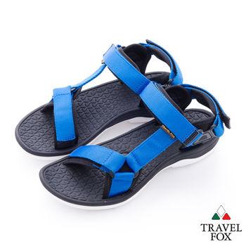 Travel Fox(男) 愛玩水 亮彩織帶側工字涼鞋 - 藍