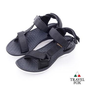 Travel Fox(男) 愛玩水 亮彩織帶側工字涼鞋 - 黑