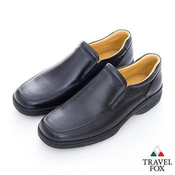 Travel Fox(男) 絕對品味 方楦舒適牛皮直套紳士鞋 - 黑