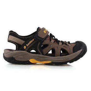 【LOTTO】男護趾運動涼鞋 -拖鞋 游泳 休閒 登山 咖啡黃
