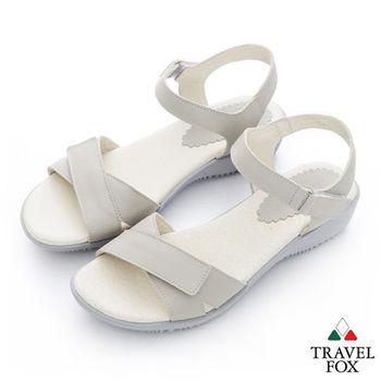 Travel Fox(女)Candy 一字雙黏帶涼鞋- 灰