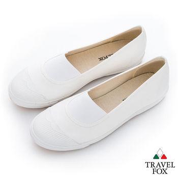 Travel Fox(女) Lilian 鬆緊彈力白膠頭懶人帆布鞋 - 白