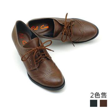 【cher美鞋】 微醺綁帶牛津高跟靴.(黑/咖啡色)1033-73