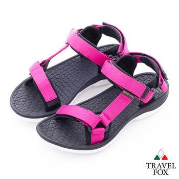 Travel Fox(女)愛玩水 彩色織帶側工字涼鞋 - 亮粉