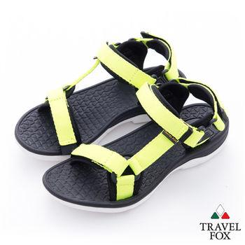 Travel Fox(女)愛玩水 彩色織帶側工字涼鞋 - 亮黃