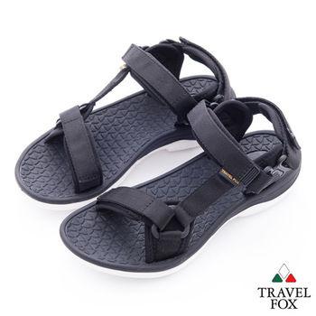 Travel Fox(女)愛玩水 亮彩織帶側工字涼鞋 -酷黑