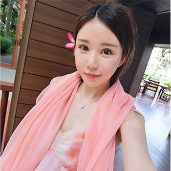 窩自在★雪紡沙灘絲巾(2入)-粉色+西瓜紅