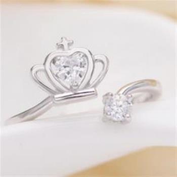 【米蘭精品】925純銀戒指公主皇冠戒指浪漫童話