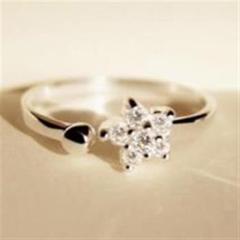 【米蘭精品】925純銀戒指花朵戒指精緻