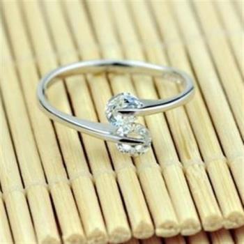 【米蘭精品】925純銀戒指雙鑽戒指精緻