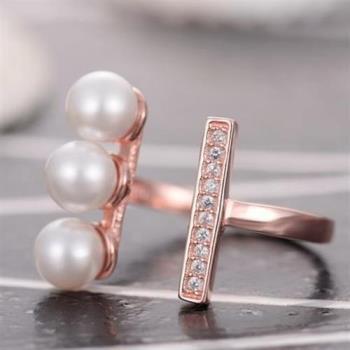 【米蘭精品】925純銀戒指珍珠純銀戒指