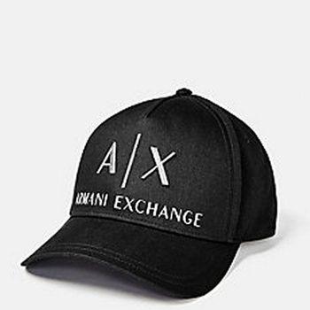 【A/X】2016阿瑪尼AX標誌刺繡運動款黑色帽子(預購)