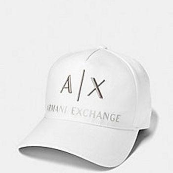 【A/X】2016阿瑪尼AX標誌刺繡運動款白色帽子(預購)