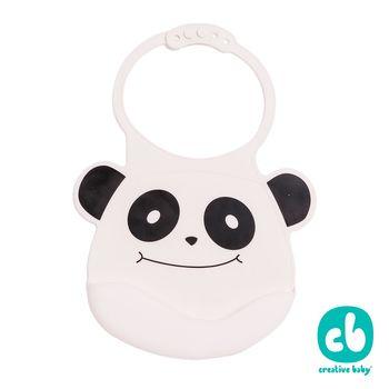 Creative Baby 創寶貝- 可收納式攜帶防水無毒矽膠學習圍兜-微笑熊貓(Silicone Bids)