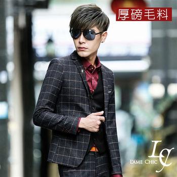 L AME CHIC 紳士硬挺厚磅毛料格紋西裝外套 (現貨-藏藍)