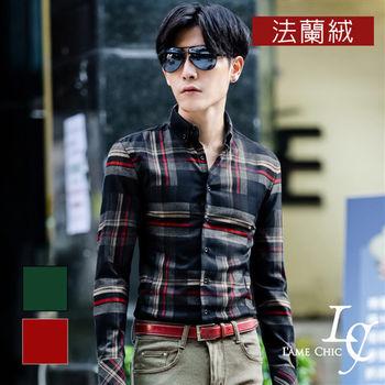 L AME CHIC 韓國製 紳士紅綠雙色格紋法蘭絨長袖襯衫(現貨-紅/綠)