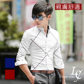 L AME CHIC 韓國製 韓系斜大方格紋親膚舒適長袖襯衫 (現貨-紅/藍)