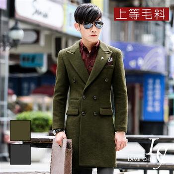 L AME CHIC 韓系劍領雙排扣上等毛料長版大衣(現貨-深灰/軍綠)