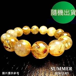 【SUMMER寶石】《招財開運》巴西天然鈦晶圓珠手鍊45g以上(男款-隨機出貨)