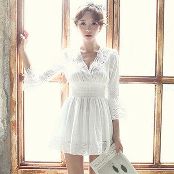 。DearBaby。韓系鏤空布蕾絲縮腰顯瘦棉麻上衣(預購)