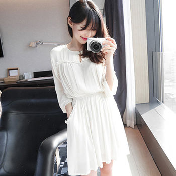 。DearBaby。韓系氣質小翻領縮腰顯瘦洋裝(預購)
